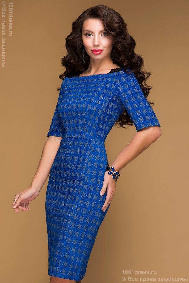 bd43e178f7b1524 Недорогое синее платье-футляр с принтом гусиная лапка и черной вставкой на  спинке в интернет-магазине 1001 DRESS
