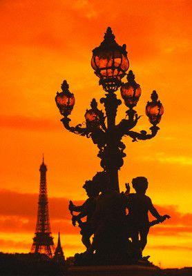 Street Light on Pont Alexandre III at Sunset