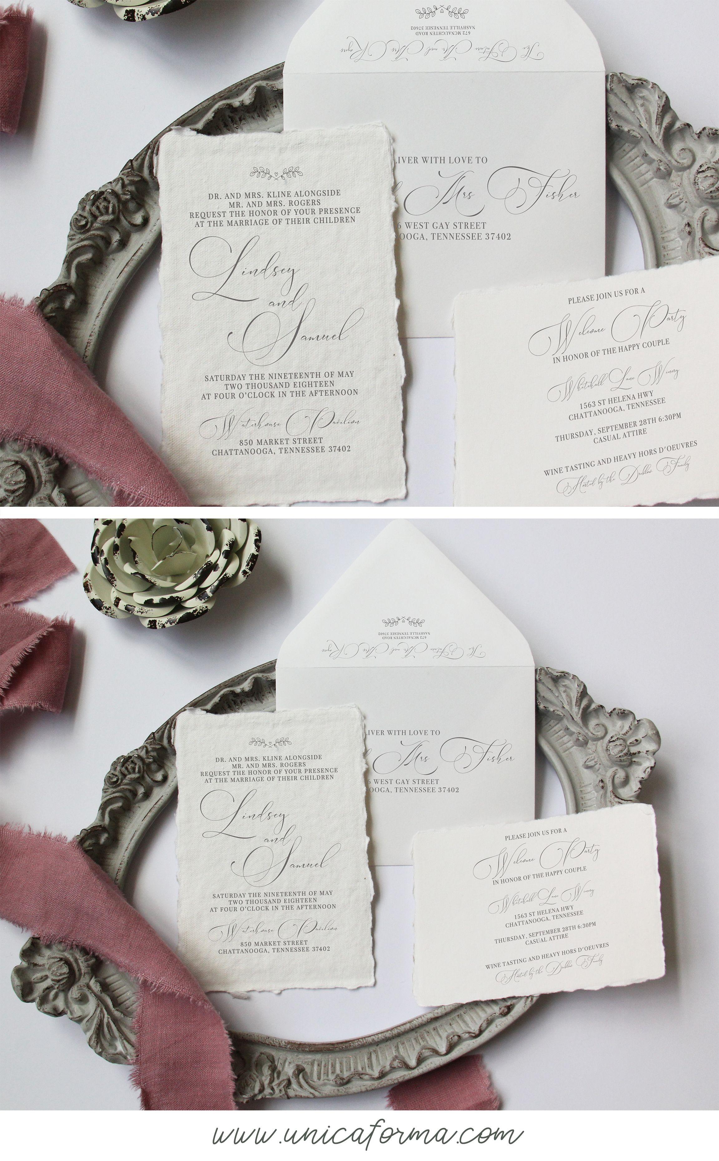 Handmade Wedding Invitation Deckled Edge Wedding Invitation Calligraphy Wed Grey Wedding Invitations Pretty Wedding Invitations Black Tie Wedding Invitations