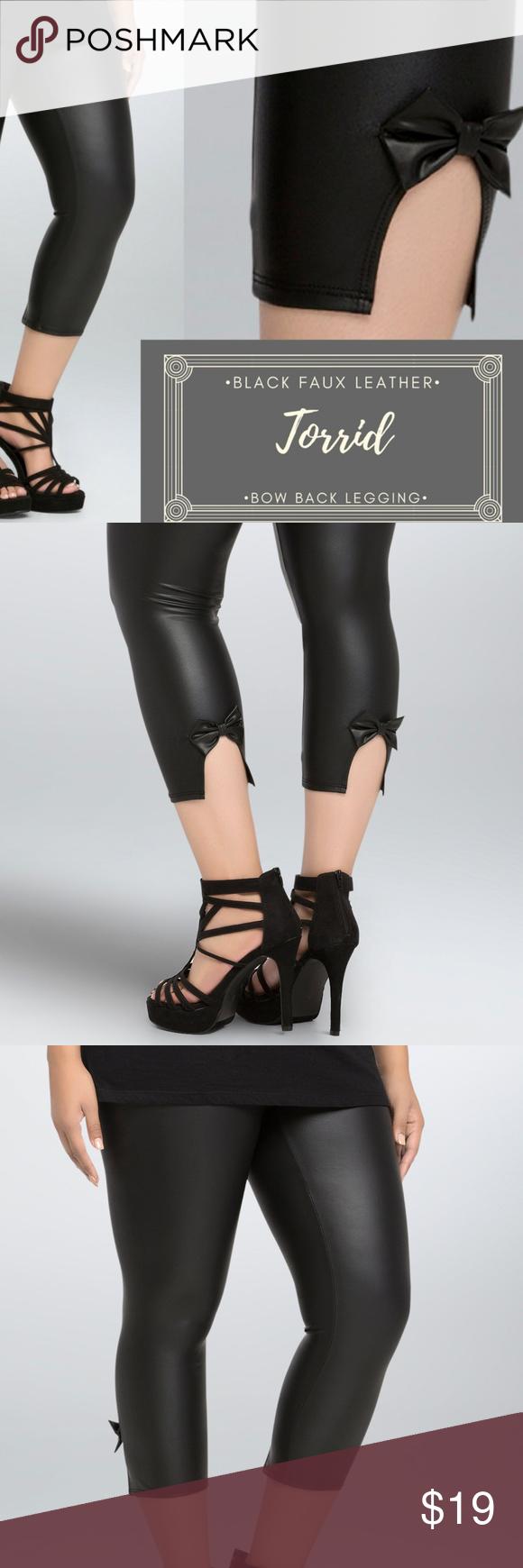 015076e8038c13 NWOTs Torrid Faux Leather Bow Back Leggings 3X blk NWOTs Torrid Faux  Leather Bow Back Leggings