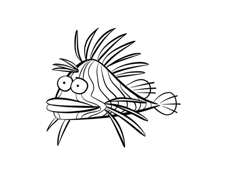 Lionfish Lion Fish Fish Outline Fish Coloring Page
