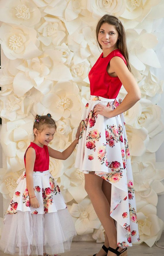 48fb1079d17c Matching Mother daughter dresses, Red floral print Mommy and me ...