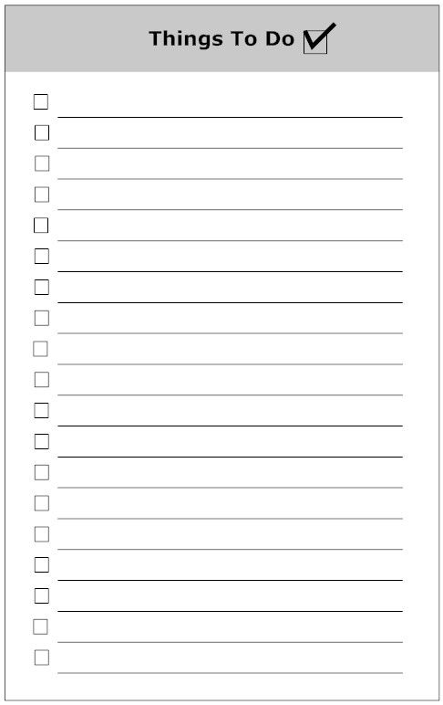 Things To Do List Example  Printable     Template