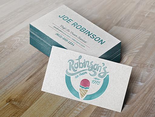 Robinson S Ice Cream Business Card Ice Cream Business Business Card Design Business Cards