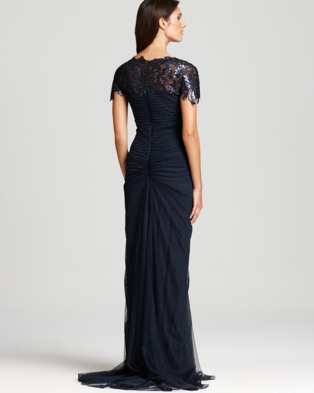 Tadashi Shoji Lace Gown - Cap Sleeve Gathered Waist