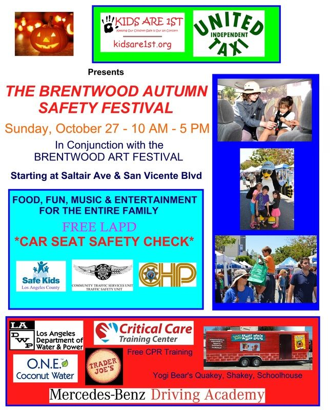 FREE car seat check with LAPD and FREE CPR training with Critical Care on Oct 27 San Vicente Blvd in Brentwood.