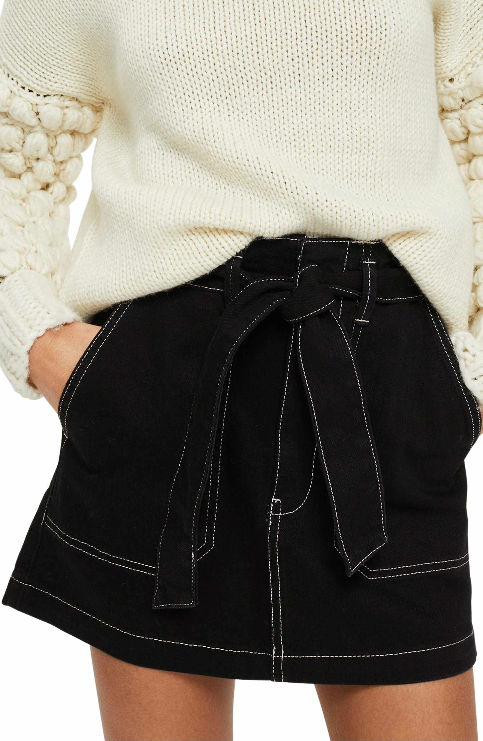 b554266951 Main Image - Topshop Stitch Detail Belted Denim Skirt | S K I R T S ...