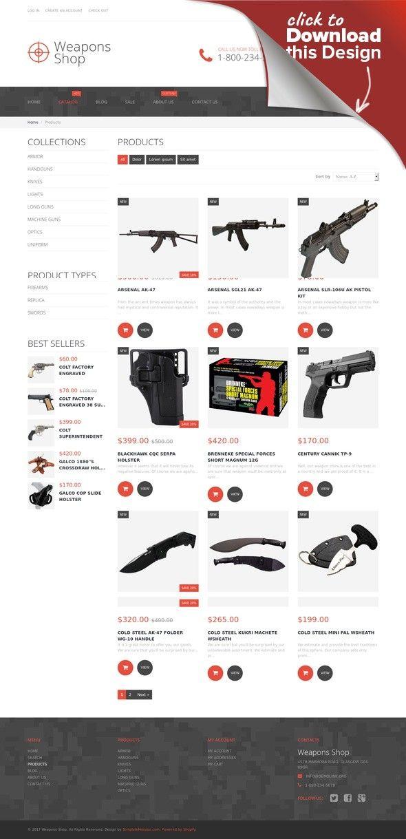 Weapon Shop Shopify Theme 52385 Web inspiration