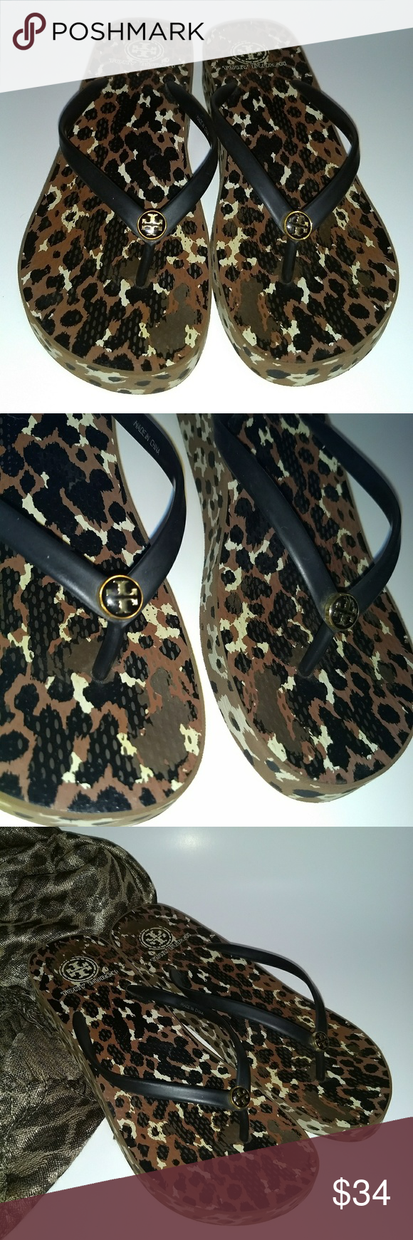 c7f3e88be2e481 Tory Burch Wedge Flip Flops Tory Burch wedge leopard print flip flops.  Color  Black Brown. Women Size 9 1 2. These is some wear on leopard print  on sole of ...