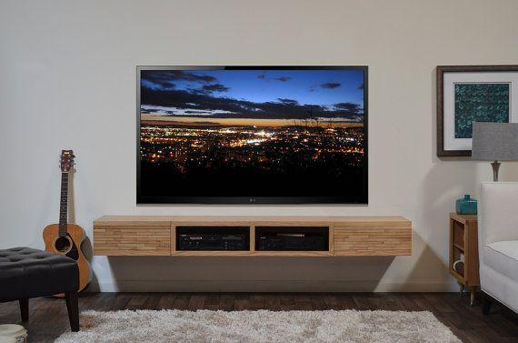 Wall mounted media shelf uk wall mounted media shelf ikea wall mount - Floating Media Stand Contemporary Blonde Tv Cabinet