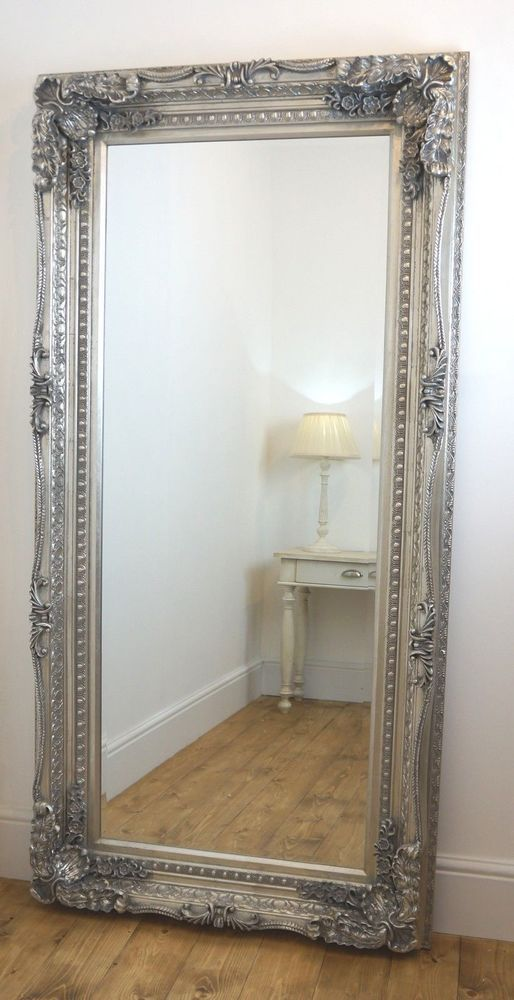 Details about chelsea silver ornate leaner antique floor for Large decorative floor mirrors