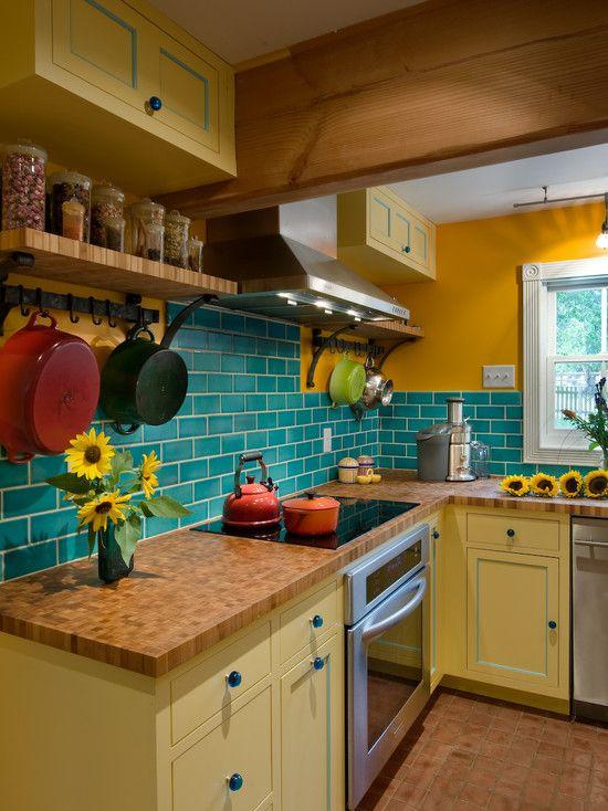 Ly Wok Le Creuset For Your Wonderful Kitchen Traditional On Wall Side Of Frige Teakettle Tangerine Blue Tiles Backsplash
