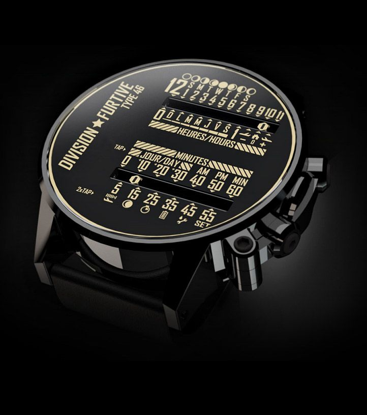 Division Furtive's Type 46 watch uses a dual linear motion in which the traditional rotating hands are replaced by cursors moving horizontally