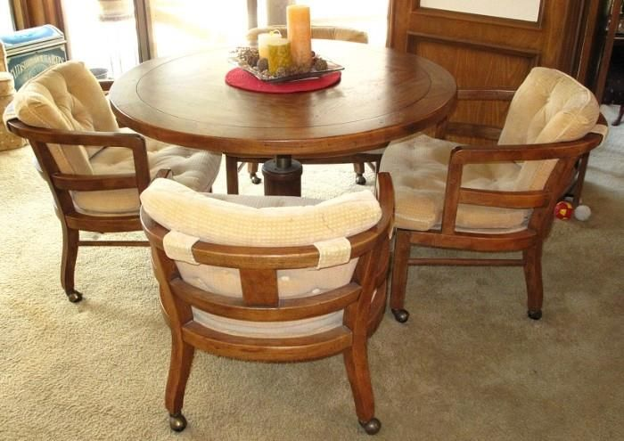 Drexel Heritage Oak Adjustable Height Round Dining/Game Table And Oak Captain  Chairs On Casters