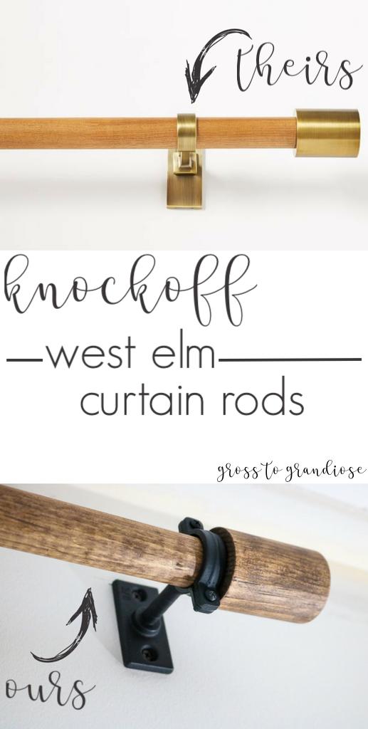 Knockoff West Elm Curtain Rods Diy Curtain Rods Modern Curtain