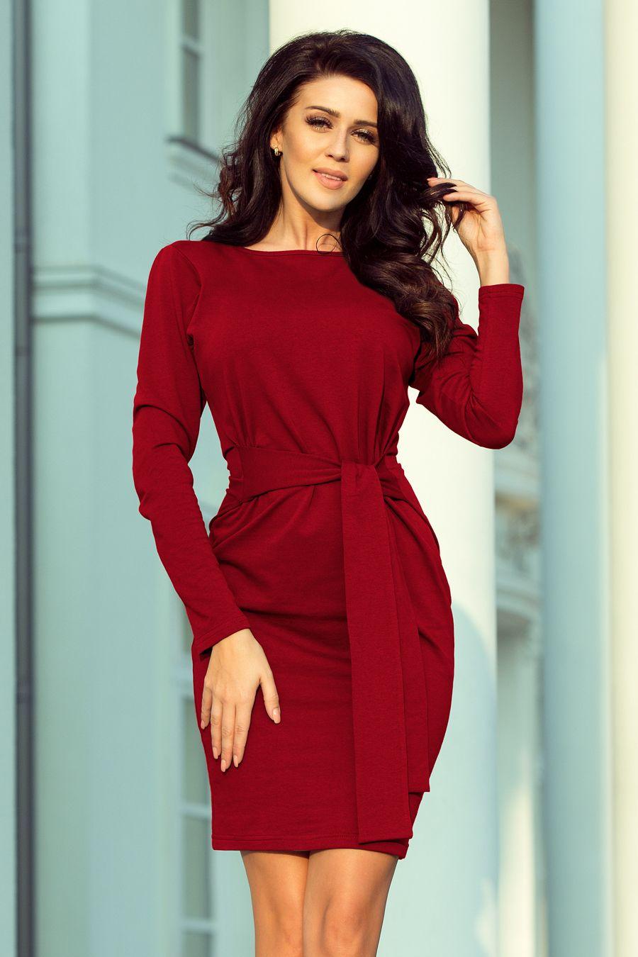 81c04867ec Śliczna bordowa dresowa sukienka z wiązaniem w pasie - bardzo wygodna  )  polski producent i hurtownia odzieży damskiej numoco. Dropshipping.