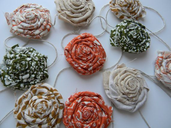 Flower Rosette Garland Wall Hanging by sewwhimsycreations on Etsy