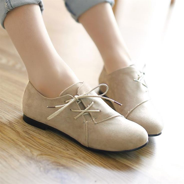 Shoes For Women Low Heel Round Toe Oxfords Casual Black White Beige