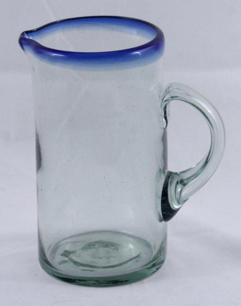 Mexican Glass Pitcher Cobalt Blue Rim Mexico Glassware