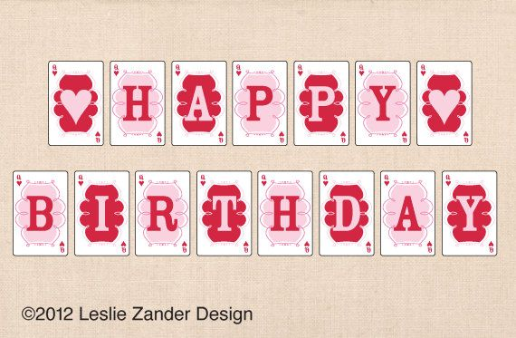 ALICE IN WONDERLAND personalized printable happy birthday banner ...