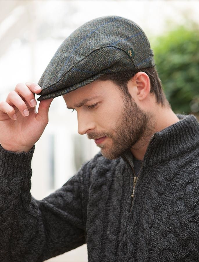442f3c1385545a Trinity Tweed Flat Cap - Forest Green with Blue | Accesories | Flat ...