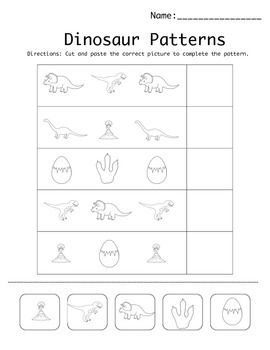 free printable dinosaur ab pattern worksheet this product helps students develop scissor skills. Black Bedroom Furniture Sets. Home Design Ideas