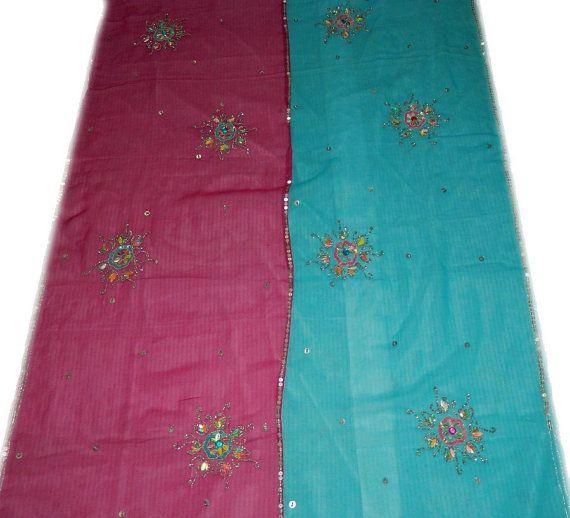 Vintage Dupatta Chiffon Saree Long Scarf Fabric by indiacraftshop, $16.99