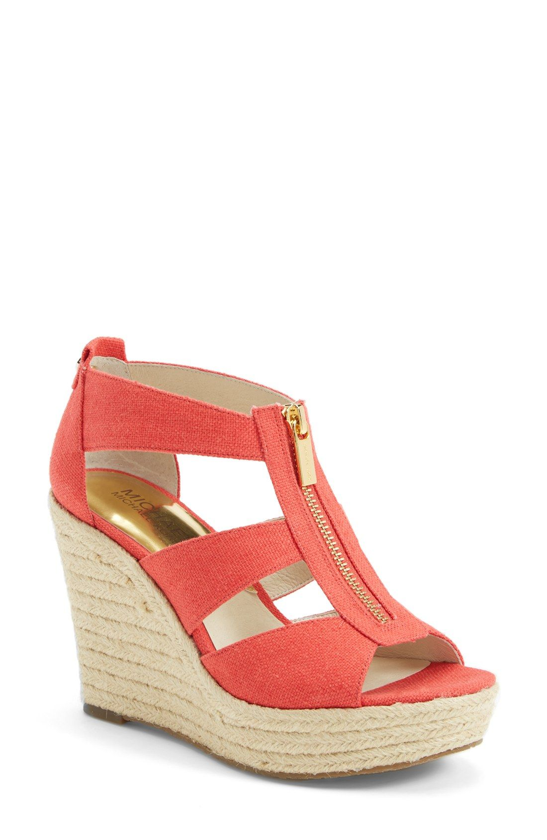 58f52eab6675 Will wear these coral wedge sandals with jeans and a cute tee.