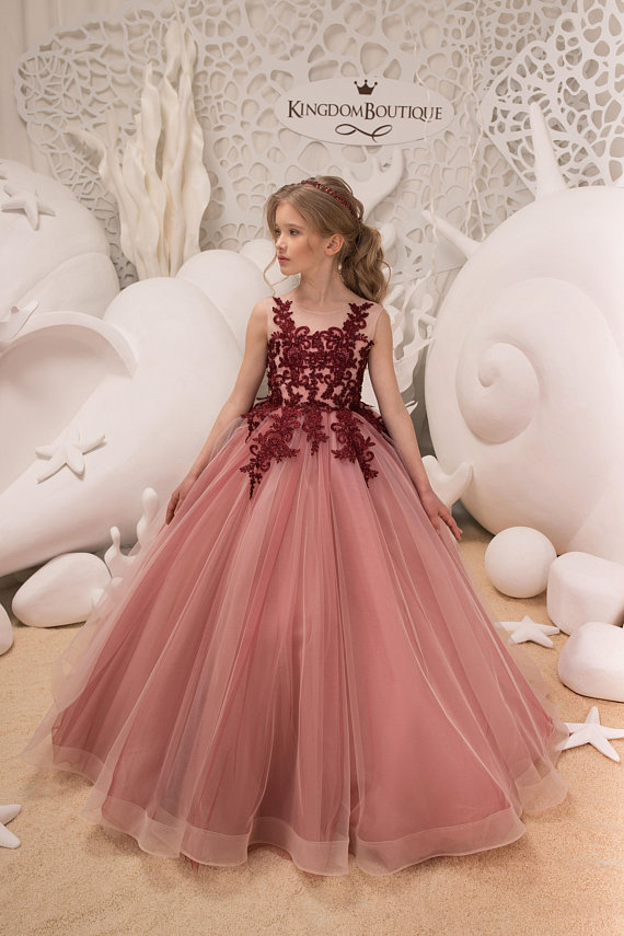 083f34616c8 Blush Pink and Maroon Flower Girl Dress Birthday Wedding Party Holiday  Bridesmaid Flower Girl Blush