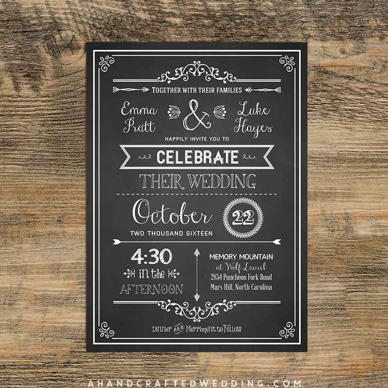 Check out this DIY Chalkboard Wedding Invitation Template via