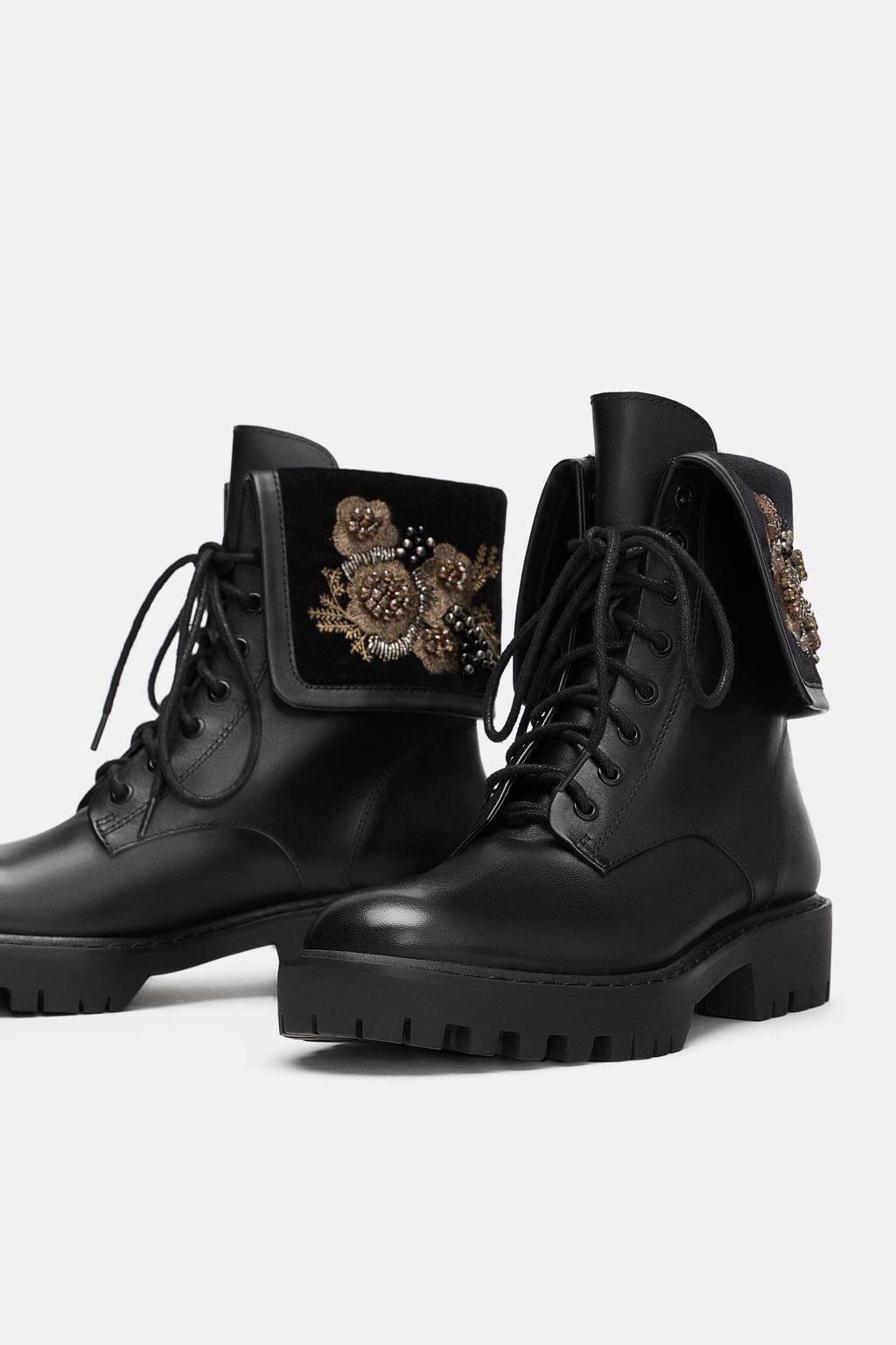 b45f93b24b2 Image 5 of LEATHER BIKER ANKLE BOOTS WITH EMBROIDERED DETAILS from ...
