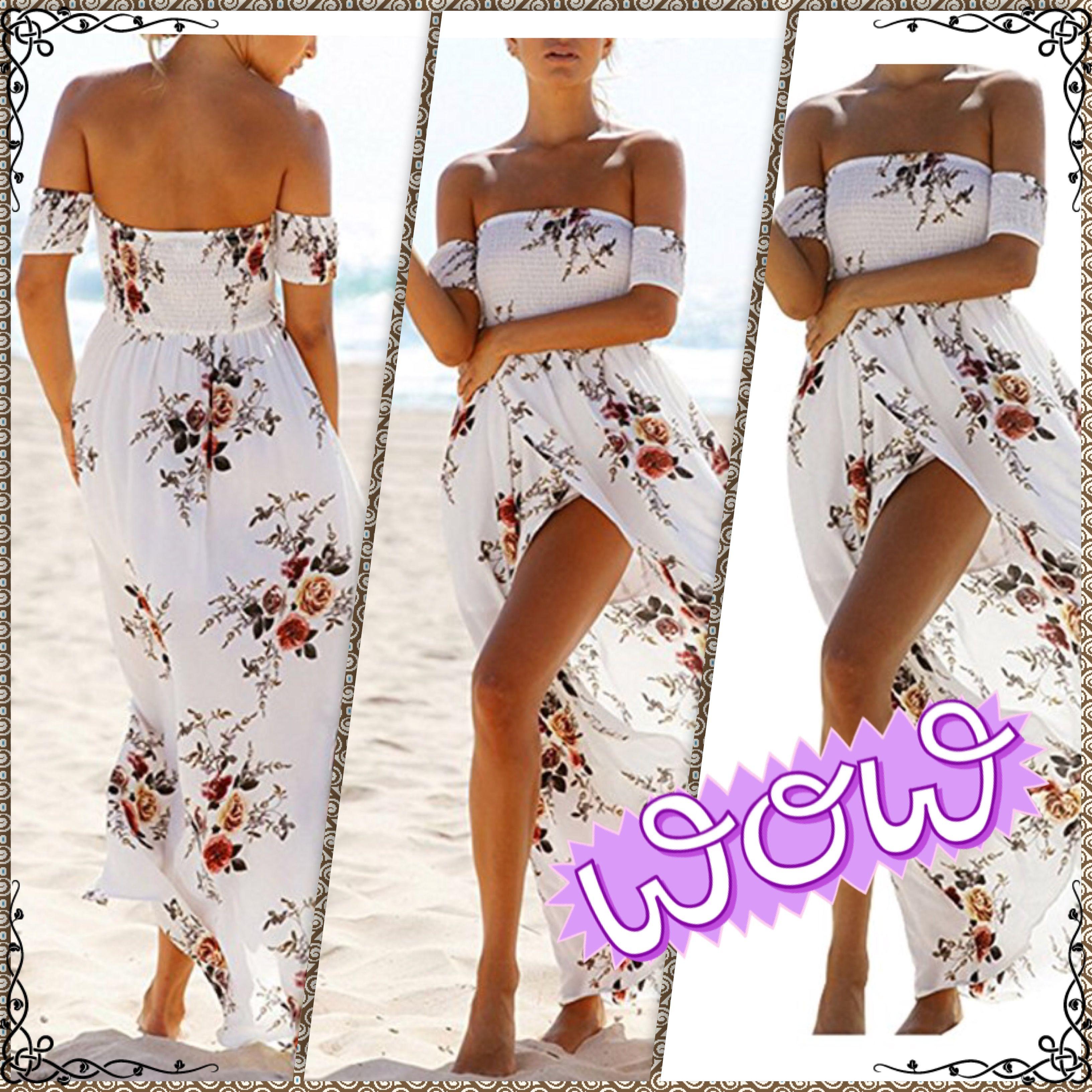 a2f5af37be 18.99     Boho Off Shoulder Strapless Summer Beach Floral Slit Maxi Dress  only