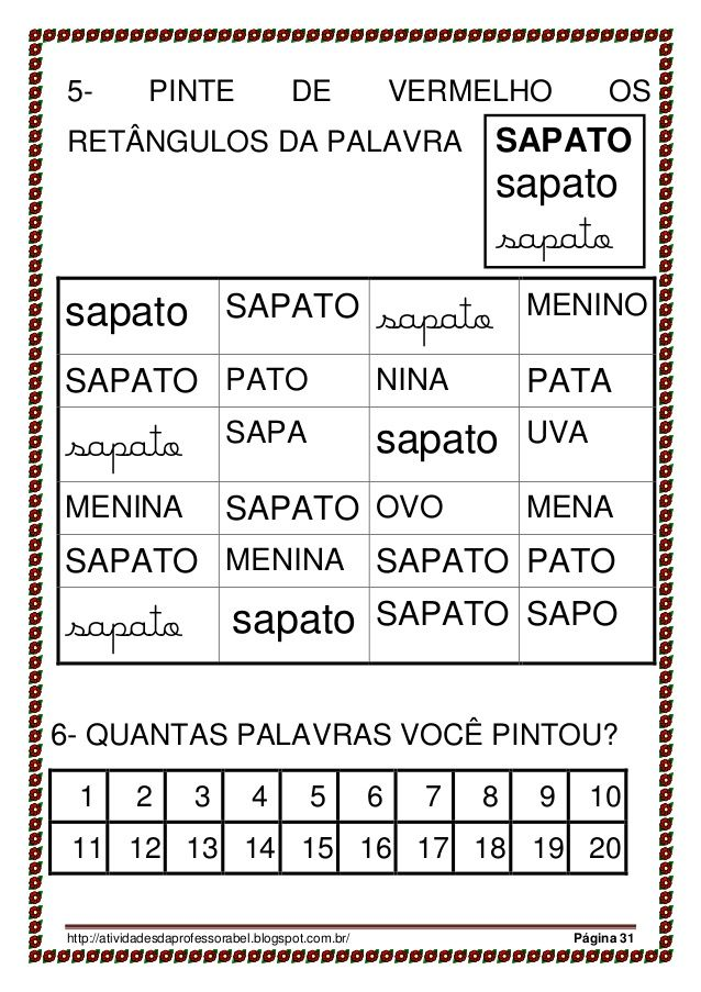 Apostila 28 Palavras Parte 1 Atividades Alfabetizacao E