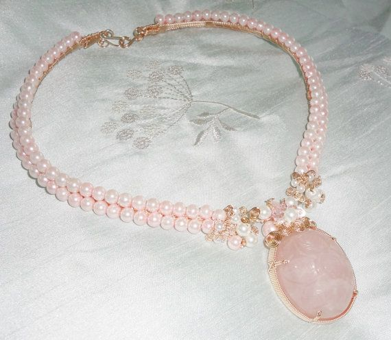 Rose Quartz Freshwater Pearls Crystal Necklace in Sterling Silver with Carved Rose Quartz Flower