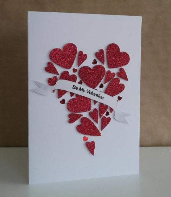 Beautiful Glittered Hearts Valentine Card Valentine Cards
