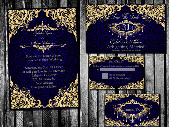 Elegant Royal Blue and Gold Wedding Invitation, Save the Date ...