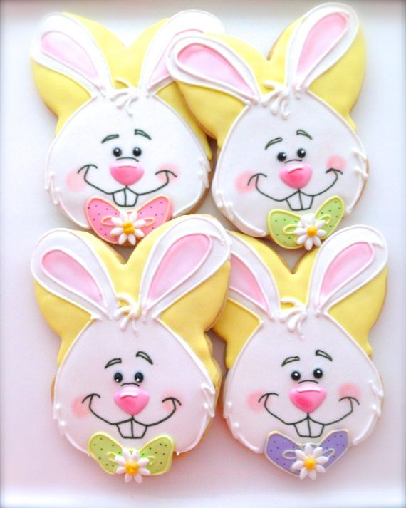 6 Vegan Bunny Face Sugar Cookies by CompassionateCake on Etsy