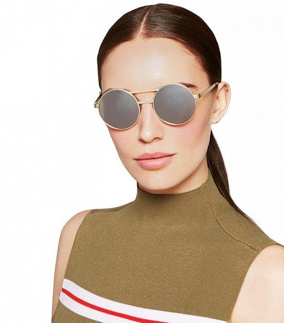 7688f164f1 Le Specs Vertigo Gold-Tone Round-Frame Mirrored Sunglasses