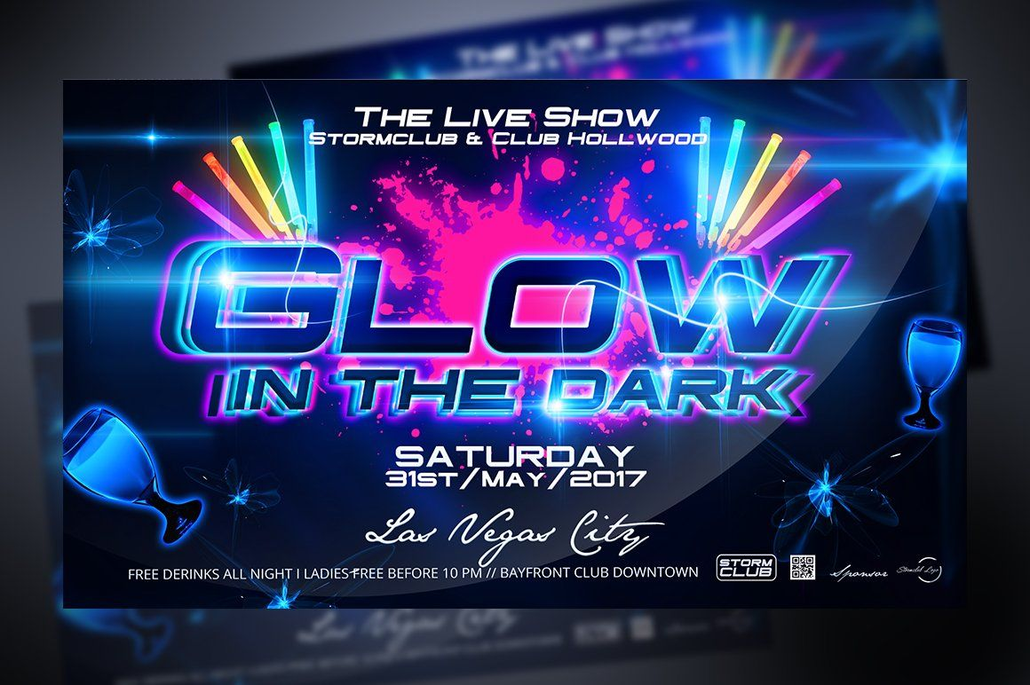 Glow In The Dark Party Flyer Ad Sponsored Guardian Font
