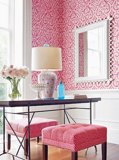 Bright bold pink and white office / bedroom. Geometric ...