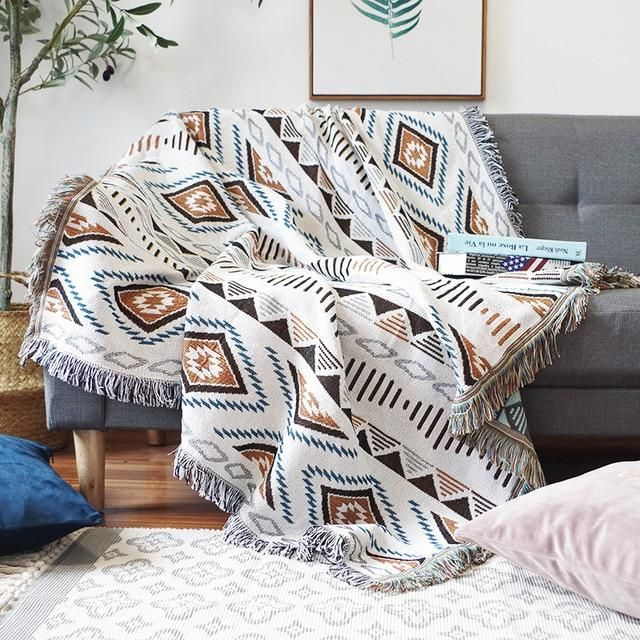 Retro Sofa Cover Bohemian Plaids Blanket Tapestry - B / 160x260cm