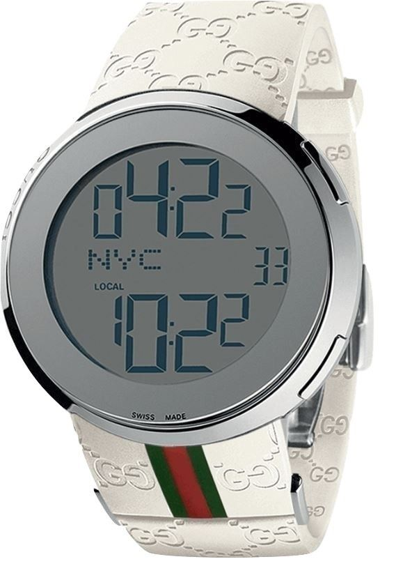 8125725bc Gucci I-Gucci YA114214 White Rubber Band Men's Digital Watch | Gucci ...