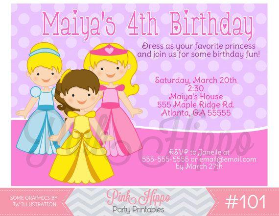 Princess Dress Up:101 - PRINTABLE INVITATION