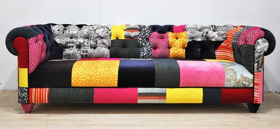 AMAZING Couch covering idea! COLOR PATCH - chesterfield patchwork sofa  #home #decor