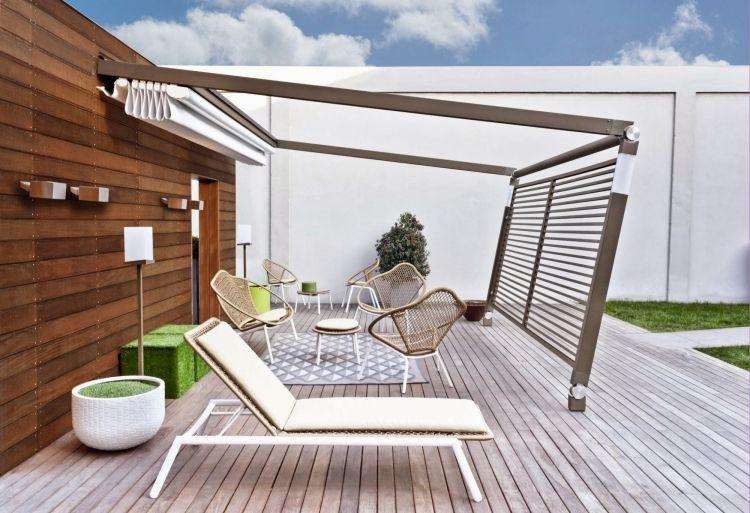 Aménagement terrasse avec auvent retractable et brise-vue | Auvent ...