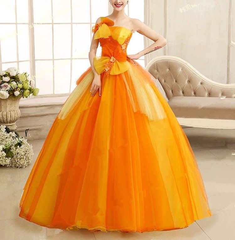 Ballmode / One Shoulder Ballkleid 2016 in Orange | ~!~ LA BELLA Y LA ...