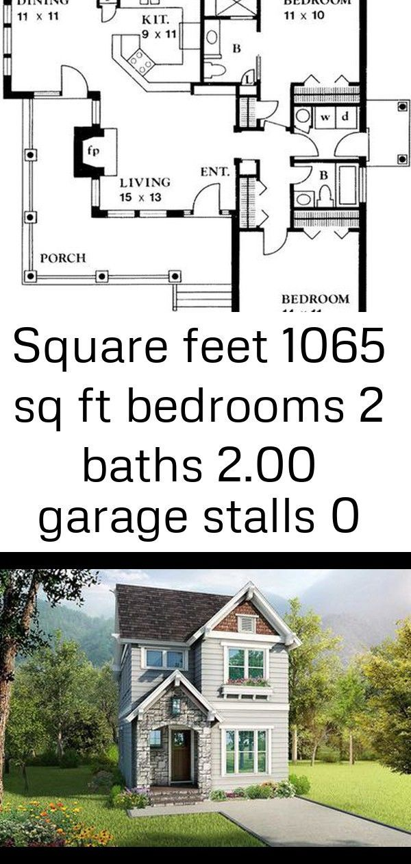Square Feet 1065 sq ft Bedrooms 2 Baths 200 Garage Stalls 0 Stories 1 Width 39 ft Depth 38 ft CleverlyDesigned Narrow Lot House Plan  17806LV thumb  01 Craftsman Style Ho...