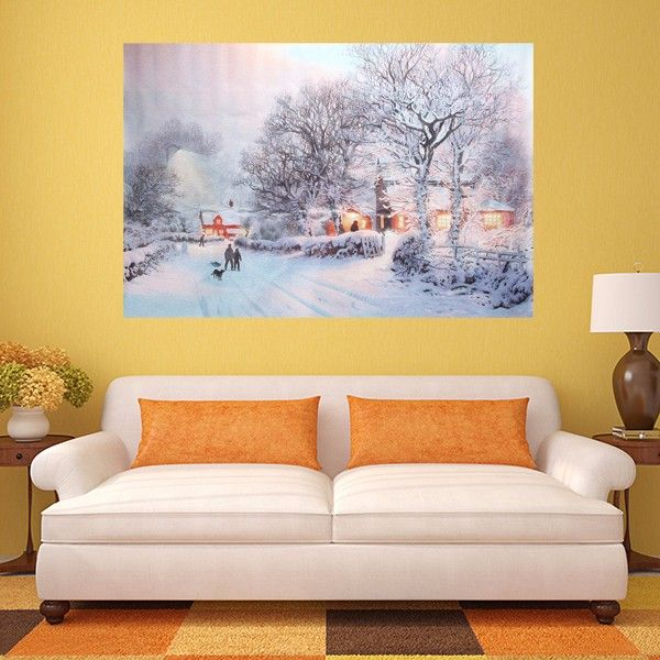 Christmas Night Tree Street Frameless Canvas Painting Living Room ...