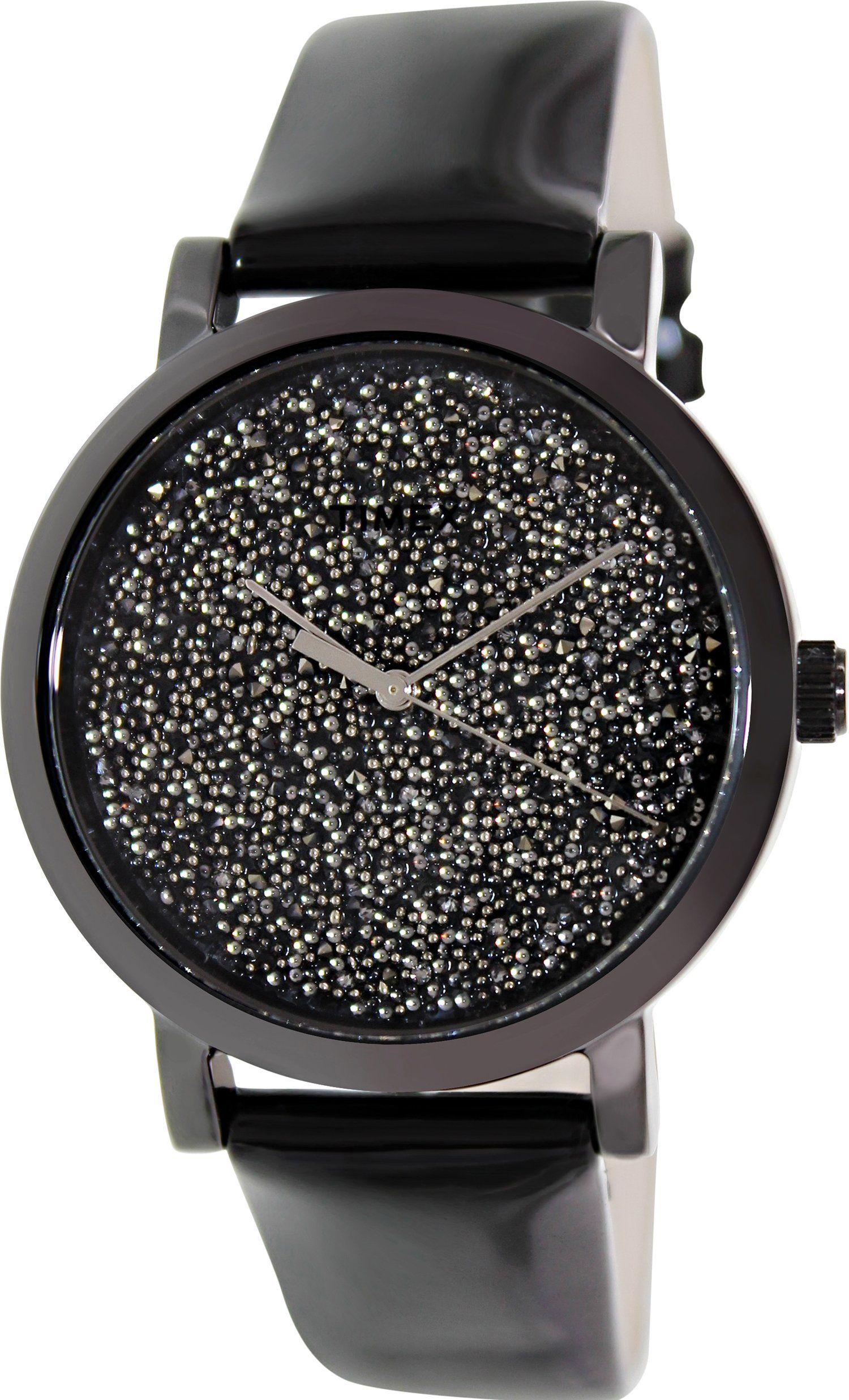 Timex Women's Originals T2P280 Black Leather Analog Quartz Watch with Black Dial