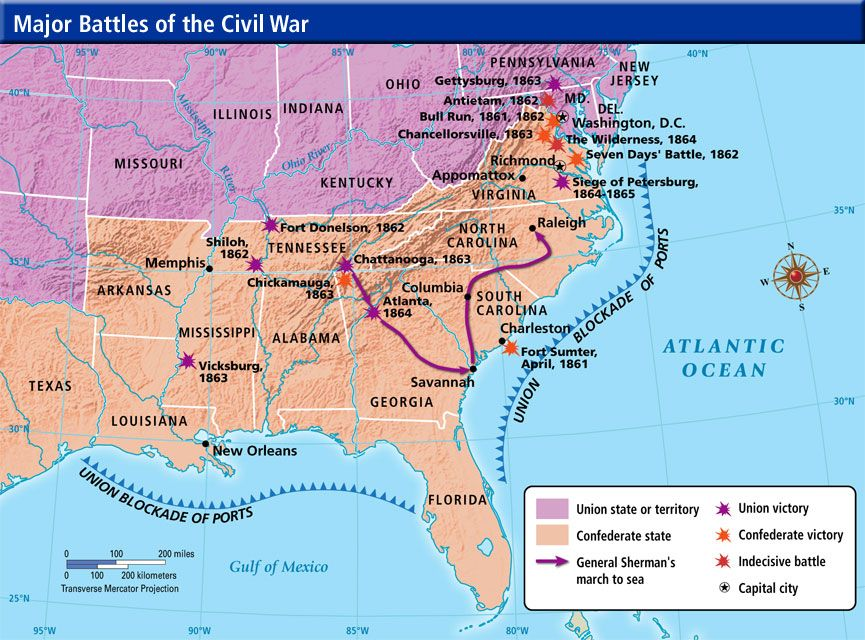 Civil War Battles Timeline Federalists And Republicans - Us map of civil war battles